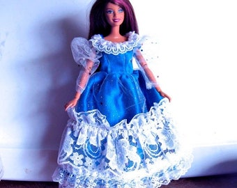 ON SALE Barbie Dress Royal Blue and White with Silver Sparkles