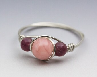 Peruvian Pink Opal & Lepidolite Sterling Silver Wire Wrapped Bead Ring - Made to Order, Ships Fast!
