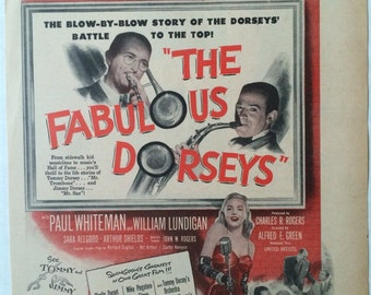 "Original Vintage Film ""The Fabulous Dorseys"", Tommy & Jimmy Dorsey, 1947 Photoplay Magazine Trade Ad Illustration"