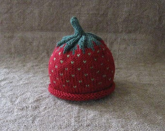 Cotton Strawberry Hat/Sz 0-3 Months Only/ Ready to Ship