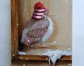 baby cardinal painting RESERVED FOR GK original still life Bird in winter art