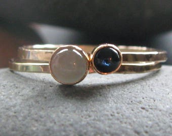 Aquamarine and Sapphire 14k Yellow Gold Stacking Ring Set. Hammered. Engraveable