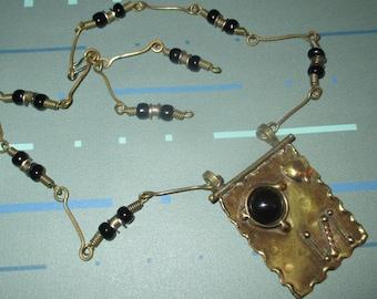 Vintage MOD Brass and Black Bead Modernist Necklace