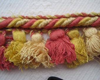 Rope Tassel Trim Fringe Coral Gold Pale Gold 3 7/8 Yards