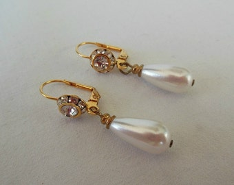 Rhinestone and Pearl Vintage Earrings
