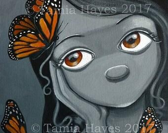 PRINT Acrylic Painting Butterflies Big Eye Lowbrow Art Orange Black White Chicasol Tamia