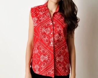 Vintage Red Bandana Print Shirt