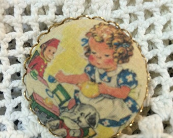 Vintage pin Textile Button art vintage Jewelry brooches Brooch TEA PARTY Girl playing with toys