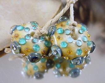 Handmade lampwork glass bead pair, Artisan glass beads, ivory beads, blue beads, green beads, gold beads, earring pair, disc bead pair, SRA
