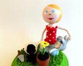 Gardener Keepsake, Gardener Collectible, Gardener Figurine, Cute Keepsake, by The Cotton Candy Kids