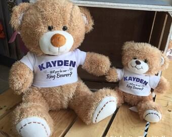 Ring Bearer Gift, Keepsake Stuffed Bear, Ring Bearer, Will You be our Ring Bearer, Stuffed Teddy, Will You Be My, Ring Bearer Shirt