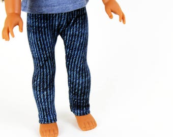 Fits like Wellie Wishers Doll Clothes - Bright Denim Blue Jeggings, Made To Order