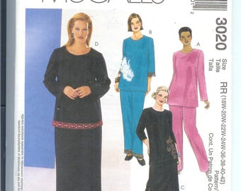 McCalls TOP and Pull-On  PANTS Skirt  Womens Womens Petite Sewing Pattern 3020 Size  RR 18W-20W- 22W-24W-36-38-40-42 Uncut  WomensStyle