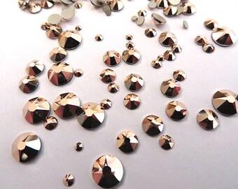 144 Rose Gold Swarovski Flatback Rhinestones Mixed Sizes 5ss 7ss 10ss 12ss 16ss 20ss 30ss Nail Art