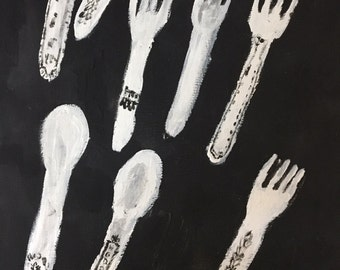 Black & White Silverware Painting