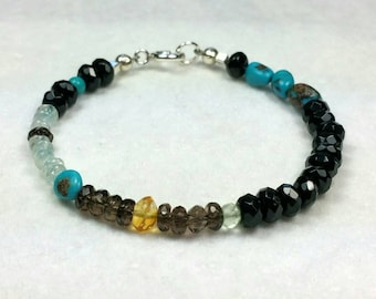 Boho Bracelet, Blue Beaded Bracelet, Turquoise, Black Onyx, Smoky Quartz, Hippie Bracelet, Multi Color Bracelet, 7 in Maggie McMane Designs