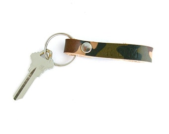 ON SALE! Camo Leather Key Fob, Personalized Key Ring, Men's Keychain, Camouflage Keychain, Hunter's Gift, Men's Valentine Gift, Gift For Men