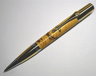 Handmade Wood Pen MONET Style Twist Pen Ballpoint Parker Black Line Maple Gold/Chrome