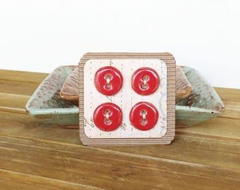 Round Stoneware Ceramic Buttons in Bright Shiny Red Glaze  - Set of 4
