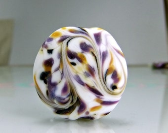Lampwork Focal Bead Etched White Purple Yellow Black Lampwork Focal Bead