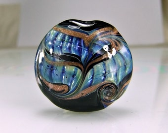 Black Blue Lampwork Focal Bead SRA Glass Focal Bead
