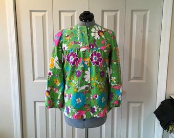 Vintage Malia Hawaiian Jacket Blazer Green Floral 60s Retro Sz S