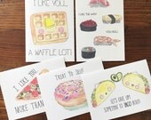 Food Pun Card. Junk Food Cards. Set of 5. Food Stationery. Taco Card. Waffle Card. Sushi Card. Donut Card. Pizza Card. Blank Cards