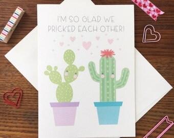 Cactus Card. Cactus Love Card. Cactus Pun Card. Anniversary Card. Same Sex Love Card. Cactus Lover. Cacti Card. Succulent Card. Blank card