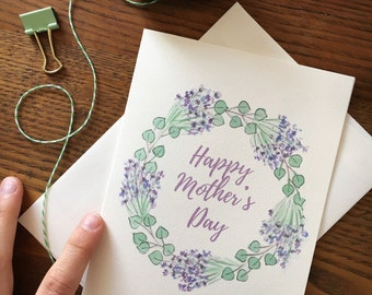 Mothers Day Card. Floral Card. Lavender Wreath. Purple Flowers. Card for Grandma. Floral Wreath. Eucalyptus Card. Floral Watercolor. For Mom