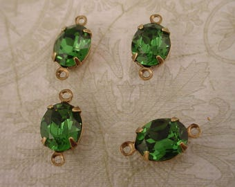 4 vintage Swarovski rhinestone glass green Tourmaline oval 10x8 brass ox setting 2 ring connectors