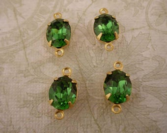 4 vintage Swarovski rhinestone glass green Tourmaline oval 10x8 brass setting 2 ring connectors