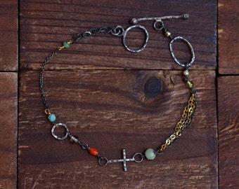 Sterling Silver Cross Bracelet - Oxidized Silver Link Bracelet - Mixed Metal Bracelet - Dainty - Mixed Stone Bracelet - Toggle Bracelet