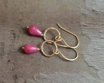 14kt Gold Ruby Earrings - Gold Link Earrings - Pink Ruby Earrings - Simple Elegant Earrings - Dainty Earrings - Circle Loop Earrings