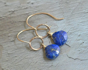 14kt Gold Lapis Lazuli Earrings - Gold Link Earrings - Indigo Blue Earrings - Pyrite Earrings - Simple Stone Earrings - Gold Hammered Hoops