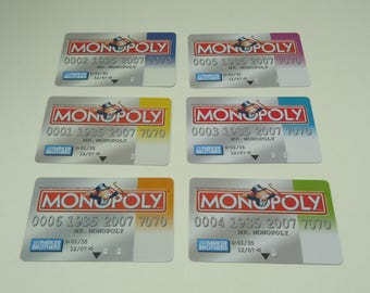 Set Of Six Plastic Monopoly Credit Cards Electronic Edition