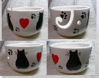 Black Cats & Hearts Yarn Bowl Handmade Original Earthenware Clay by Grace M Smith