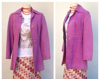 40% MOVING SALE LAVENDER suede jacket / Boho glam suede coat / Gassy Jack indie rocker gypsy coat / womens small xs