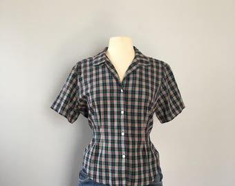 Plaid short sleeve blouse / camp shirt / tartan plaid button up blouse