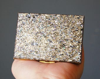 1950s Confetti Lucite Compact Case Vintage Rockabilly Silver Tinsel