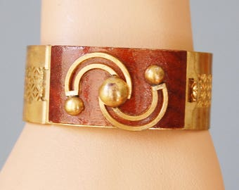 1930s Art Deco Moderne Cuff Bracelet Hinged Vintage Brass with Wood