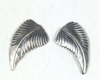 Sterling silver leaves, 21 mm x 12 mm, right left, silver cast leaves, old pawn element, native style leaves, turquoise jewelry leaves