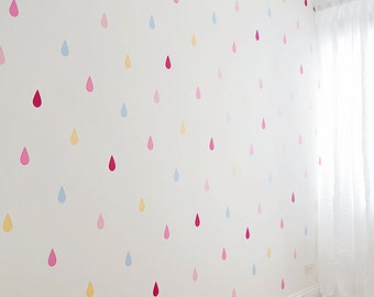 Raindrop Shaped Wall Decals Set of 40 Five Inch Vinyl Wall Decals 45 Color Options Nursery or Kid Room Decor Rain Drop Teardrop Wall Sticker