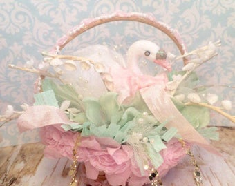 Spring decor swan shabby chic romantic pastel pink mint green easter decor vintage retro inspired baby shower bridal shower centerpiece