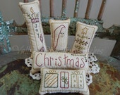 RESERVED for BECKY BALLARD Primitive Hand Stitched Christmas Pillow Tucks