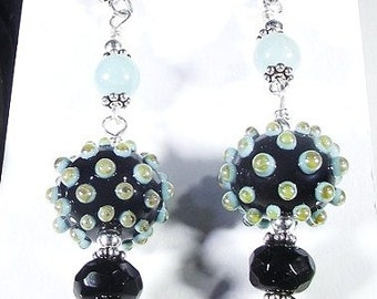 Blue-Black Sea Urchin Earrings  (Coral Reef Collection)  by Gonet Jewelry Design