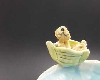 golden retriever dog on a boat - trinket bowl porcelain original
