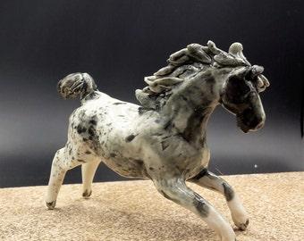wild appaloosa horse - flying porcelain horse - original art