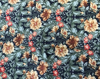 1 Yard of Orange and Green Floral Print Cotton Fabric from Northcott
