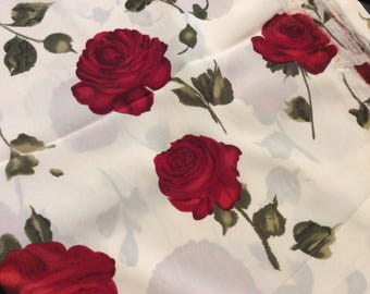 Reserve for Vickie 3 Yards of Vintage Cream with Red Roses Knit Fabric