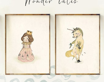Princess and Unicorn - Sets & Collections - Art - Holli - Nursery Wall Art - Nursery Decor - Childrens Art - Kids Wall Art - Nursery Art